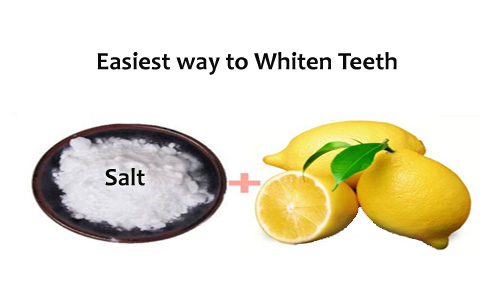 Lemon and Salt for White Teeth